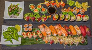 Hintergrundbilder Meeresfrüchte Sushi Viel Grüne Erbsen Salat Fische - Lebensmittel