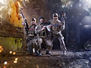 Images Soldiers Assault rifle Three 3 Joyful Firing military