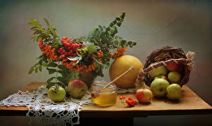 Wallpapers Still-life Apples Sorbus Melons Honey Wicker basket Branches Jar Food