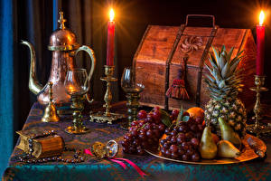Wallpaper Still-life Kettle Candles Fruit Grapes Pears Pineapples Treasure chest coffer Stemware Food