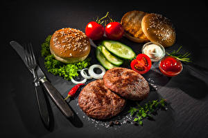 Pictures Still-life Knife Buns Meat products Cucumbers Tomatoes Vegetables Frikadeller Gray background Fork Ketchup Food