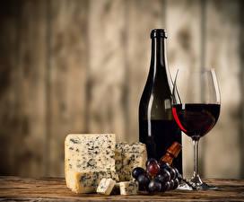 Fotos Stillleben Wein Käse Weintraube Flasche Weinglas Lebensmittel