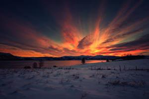 Fotos Sonnenaufgänge und Sonnenuntergänge Winter Himmel See Schnee Natur
