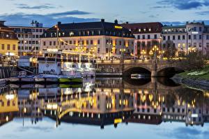 Fotos Schweden Haus Flusse Brücken Abend Schiffsanleger Gothenburg Städte