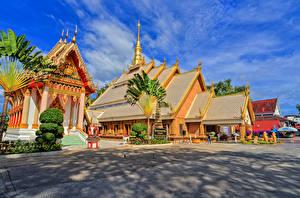Bureaubladachtergronden Thailand Gebouwen Tempel Stadsstraat Wat Maha Wanaram Ubon Ratchathani Steden