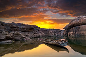 Wallpapers Thailand Sunrise and sunset Rivers Boats Sky Canyon Clouds Cliff Ubonratchathani Nature