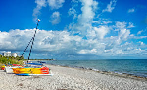 Wallpaper USA Coast Sky Ships Boats Florida Clouds Beaches Nature