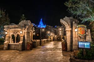 Hintergrundbilder Vereinigte Staaten Disneyland Park Kalifornien Anaheim Design Nacht Straßenlaterne Städte