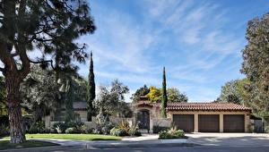 Papel de Parede Desktop Estados Unidos Casa Mansão árvores Arbusto Garagem Newport Beach Cidades