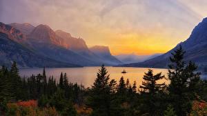 Hintergrundbilder Vereinigte Staaten Park Gebirge See Sonnenaufgänge und Sonnenuntergänge Landschaftsfotografie Fichten Glacier National Park Natur