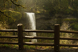 Bilder Vereinigte Staaten Wasserfall Park Wälder Zaun Felsen Silver Falls State Park Natur