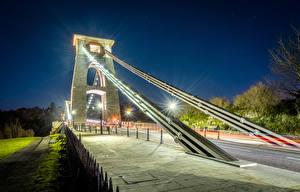Pictures United Kingdom Bridges Street lights Night Clifton Suspension Bridge Bristol Cities