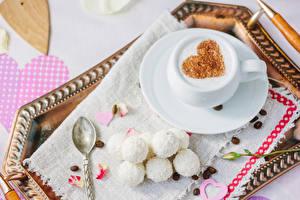 Fotos Valentinstag Kaffee Süßigkeiten Bonbon Tasse Getreide Herz das Essen