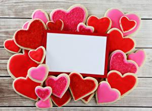 Sfondi desktop Festa di san Valentino Biscotti Tavole Modello biglietto di auguri Cuore Disegno Cibo