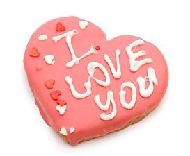 Sfondi desktop Festa di san Valentino Prodotto da forno Biscotti Sfondo bianco Disegno Cuore Inglesi alimento