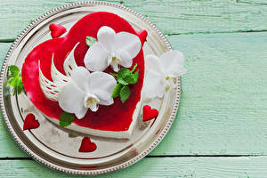 Images Valentine's Day Confectionery Cakes Orchid Boards Plate Design Heart Food
