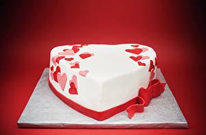 Hintergrundbilder Valentinstag Süßware Torte Roter Hintergrund Design Herz