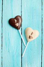 Image Valentine's Day Sweets Candy Chocolate Boards Two Heart Design Food
