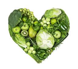 Image Vegetables Fruit Apples Cabbage Pepper Pears White background Heart Design Green