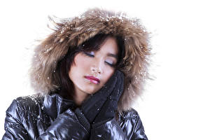 Pictures White background Brown haired Glove Hooded female