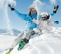 Image Winter Man Snow Two Jacket Helmet Hands Eyeglasses Children