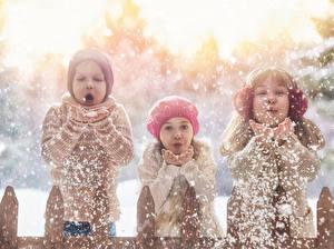 Fotos Winter Drei 3 Junge Kleine Mädchen Schnee Hand kind