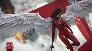 Bilder Engeln War Thunder Flügel Schön hibikirus Spiele 3D-Grafik Mädchens