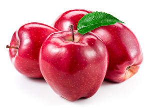 Picture Apples Closeup White background Red Food