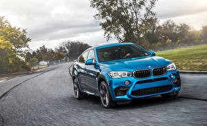Pictures BMW Light Blue Crossover F86 X6 M Cars