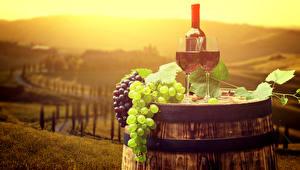 Picture Cask Wine Grapes Bottles Stemware
