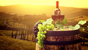 Picture Cask Wine Grapes Bottles Stemware Food