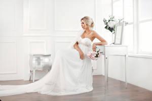 壁纸,,花束,金发女孩,新娘,坐,连衣裙,女孩,