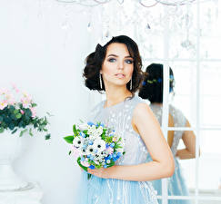 Images Bouquets Brunette girl Earrings young woman