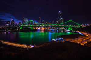Pictures Brisbane Australia Houses Rivers Bridge Night Fairy lights Cities