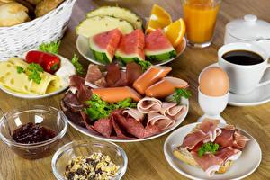 Hintergrundbilder Butterbrot Frankfurter Würstel Wurst Schinken Konfitüre Kaffee Käse Wassermelonen Frühstück Ei
