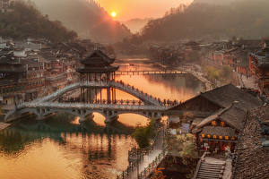 Image China Houses River Bridges Sunrises and sunsets Hunan Province Cities