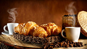 Photo Coffee Croissant Cup Vapor Grain Food