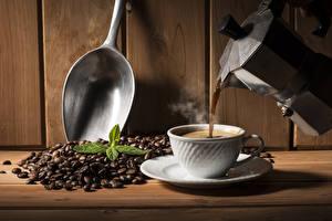 Wallpapers Coffee Kettle Wall Wood planks Cup Grain Spoon Food