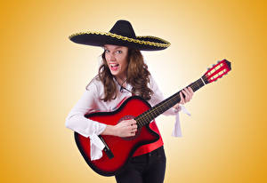 Photo Colored background Brown haired Hat Guitar Girls