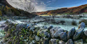 Image England Winter Stone Hill Fence Moss HDR Lake District National Park Cumbria Nature