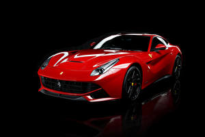 Wallpaper Ferrari Pininfarina Black background Red Metallic 2012-18 F12 berlinetta