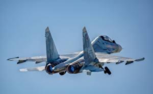 Fotos Flugzeuge Jagdflugzeug Soukhoï Su-30 Flug Russischer SM Luftfahrt