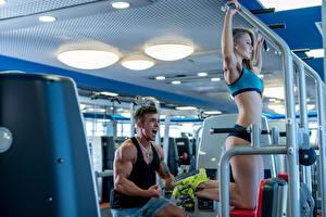 Fotos Fitness Mann Körperliche Aktivität Mädchens Sport