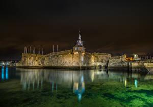 Hintergrundbilder Frankreich Festung Flusse Nacht Concarneau Städte