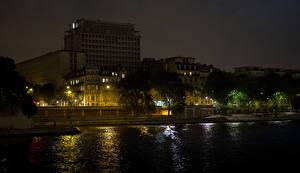Bilder Frankreich Gebäude Fluss Paris Nacht Städte