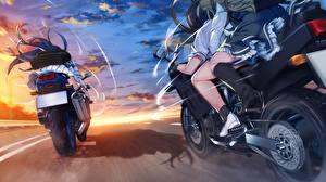Bakgrundsbilder på skrivbordet Grisaia: Phantom Trigger Går Anime Unga_kvinnor Motorcyklar