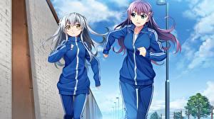 Papel de Parede Desktop Grisaia: Phantom Trigger 2 Correndo Anime Meninas