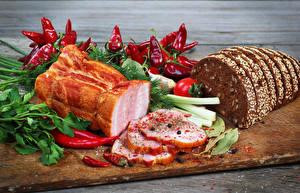 Hintergrundbilder Schinken Brot Gemüse Peperone Schneidebrett