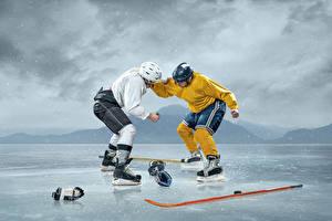 Фото Хоккей Мужчины 2 Лед Дерутся Шлем Униформа