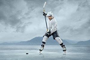 Фотография Хоккей Мужчины Униформа Льда Шлем